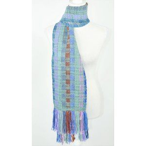 Blue and Purple colorful knit winter long scarf